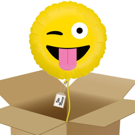 Bouquet De Ballons Livraison Ballon Surprise Rond Emoji clin d'œil - Smiley farfelue - 36593 box