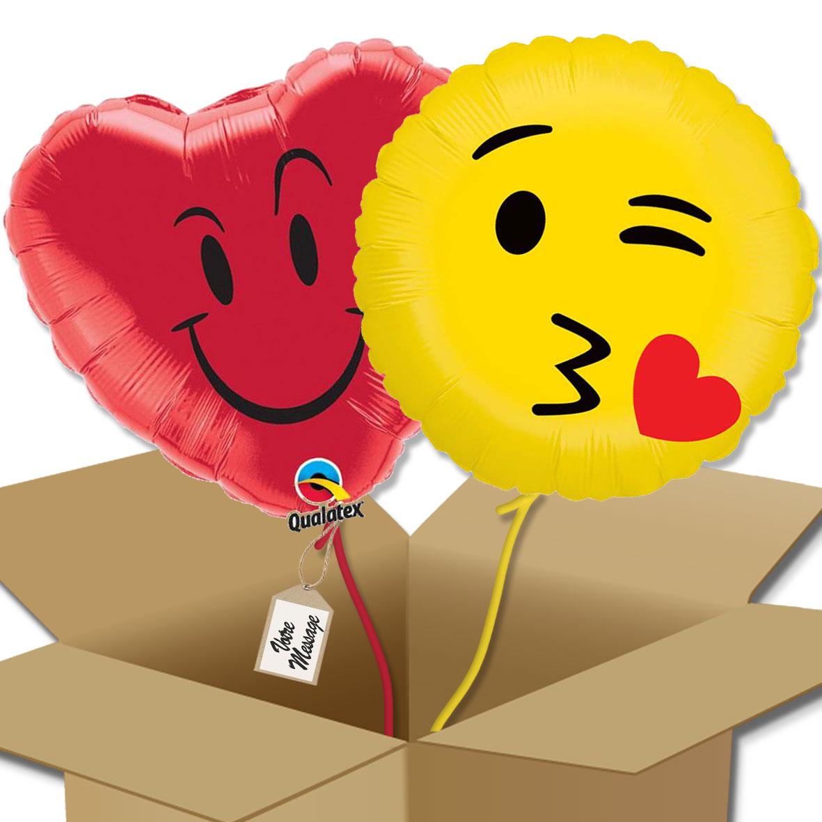 Duo De Ballons Cœur Bisous Et Smliey Bisous Bouquet De Ballons
