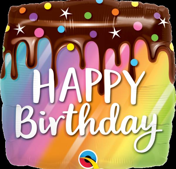 Ballon à offrir Joyeux anniversaire gateau arc-en-ciel dégoulinant de chocolat