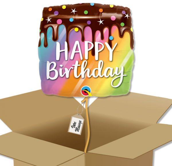 Boite cadeau avec Ballon à offrir Joyeux anniversaire gateau arc-en-ciel dégoulinant de chocolat