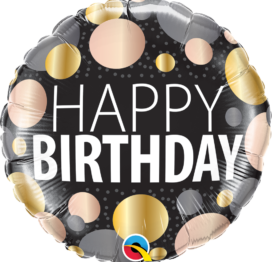 Ballon à offrir Joyeux anniversaire métallique à pois