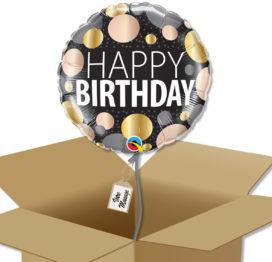 Ballon à offrir Joyeux anniversaire métallique à pois dans sa boite cadeau