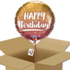 Ballon à offrir Joyeux anniversaire rose et rose doré dans sa boite cadeau