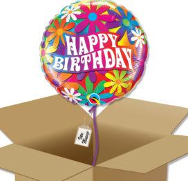 Bouquet de Ballons très coloré et fleuri pour un anniversaire dans sa boite