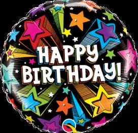 Bouquet de Ballons Étoiles filantes colorées d'anniversaire