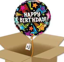 Bouquet de Ballons Étoiles filantes colorées d'anniversaire dans sa boite