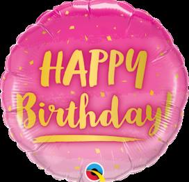 Bouquet de Ballons d'anniversaire rose et or