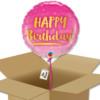 Bouquet de Ballons d'anniversaire rose et or dans sa boite