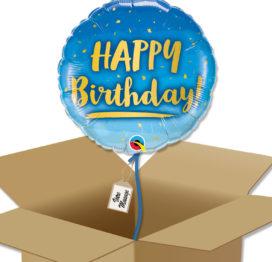 Bouquet de Ballons d'anniversaire bleu et or dans sa boite