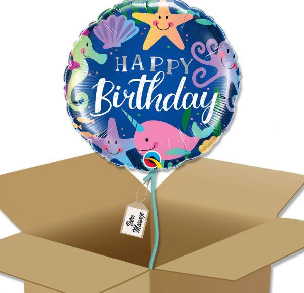 Bouquet de Ballons très coloré personnage de la mer pour un anniversaire enfant dans sa boite