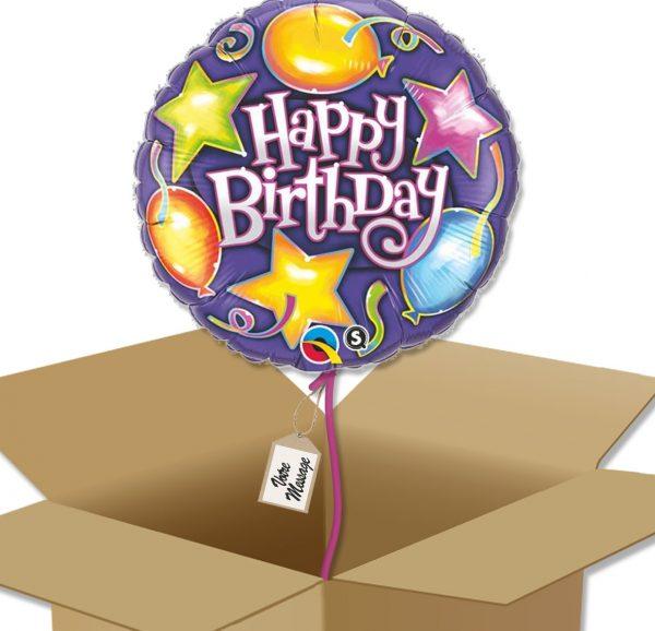 Bouquet de Ballons très coloré étoiles et ballons pour un anniversaire enfant dans sa boite