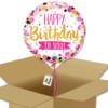 Bouquet de Ballons d'anniversaire or et rose dans sa boite