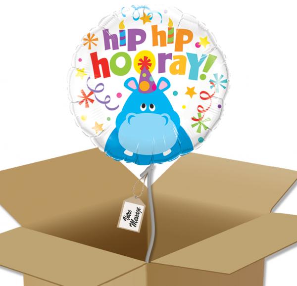 Ballon anniversaire enfant hippopotame dans sa boîte.