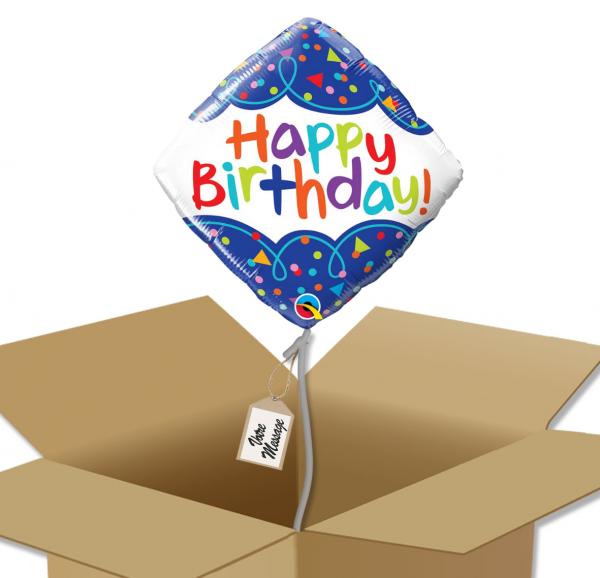 Ballon anniversaire carré multicolore dans sa boîte.