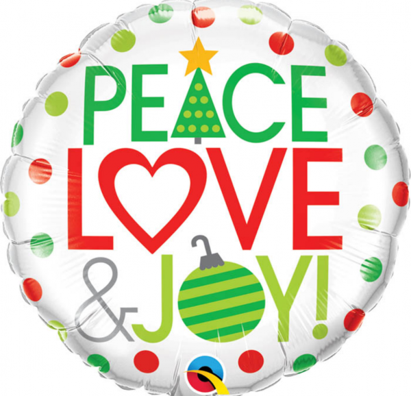 Ballon de noël Peace, Love & Joy