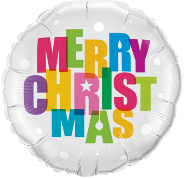 Ballon rond Merry Christmas Multicolore