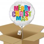 Ballon rond Merry christmas multicolor dans sa boîte.
