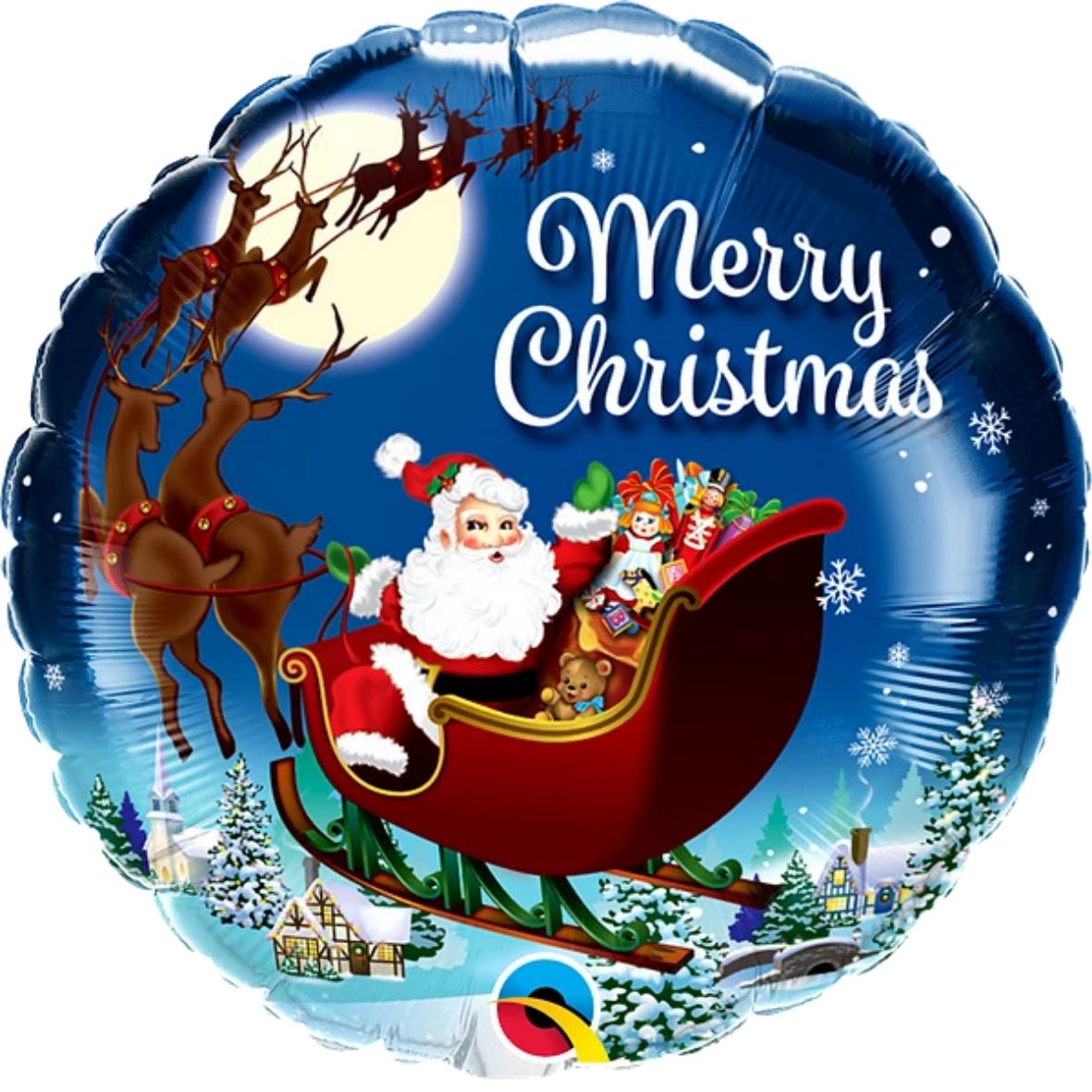"""Ballon rond écriture """"Merry Christmas"""" avec dessin traineau et village du père noël."""