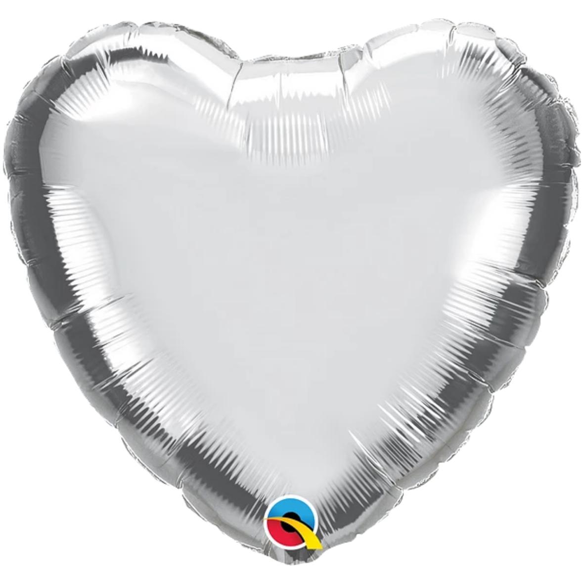 Ballon coeur gris argenté chromé.