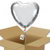 Ballon coeur gris argenté chromé dans sa boîte.