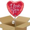 Ballon coeur Rouge avec écriture I Love You dans sa boîte.