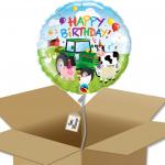 Ballon rond Joyeux anniversaire à la ferme dans sa boîte.