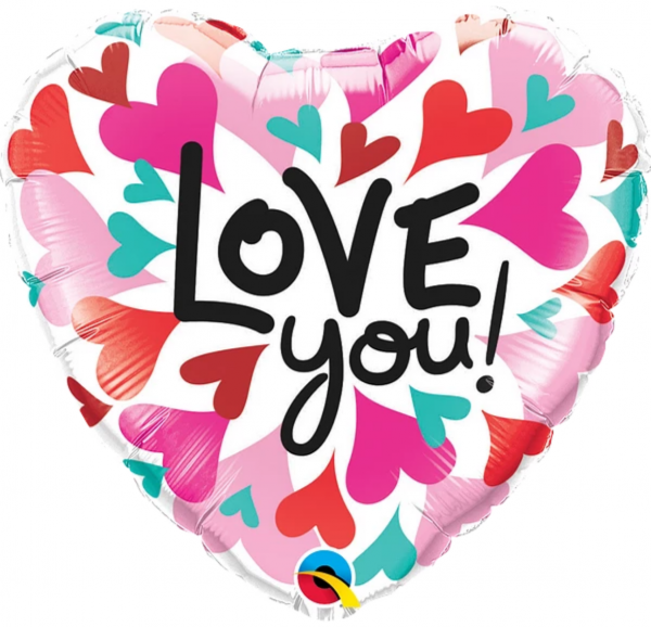 Ballon coeur Rose Rouge écriture I Love You.