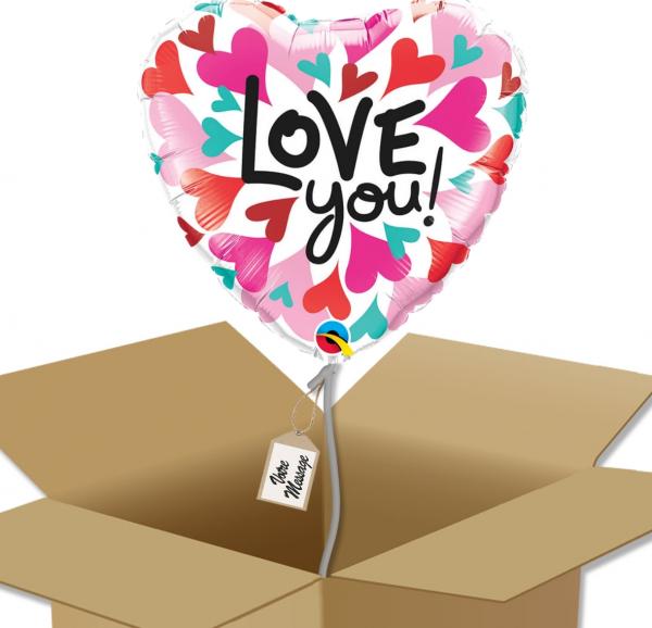 Ballon coeur Rose Rouge écriture I Love You dans sa boîte.