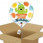 Ballon rond écriture Happy Birthday avec dessin cactus dans sa boîte.