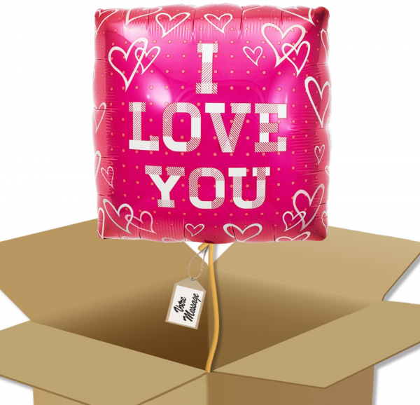 Ballon Carré I Love you rose dans sa boîte.